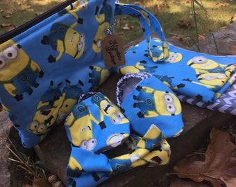 Handmade Despicable Me, Minion Baby Set Burpies, Bow Tie, Crib Shoes, Wristlet Pouch