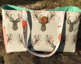 SALE Handmade Diaper Bag, Stag Deer x-large