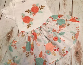 Baby Girl Onesie and matching skirt / coral floral, mint, gold