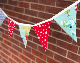 Handmade Going Camping/Glamping Vintage Look Fabric Bunting Photo Prop, baby photography, camper, retro