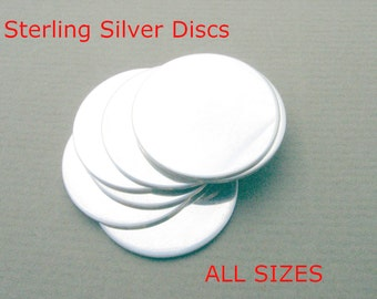 Sterling Discs ALL SIZES Sterling Silver Discs Hand Stamping Blanks Metal Jewelry Making Supplies Round Disks Circles CHOOSE Inch mm Gauge