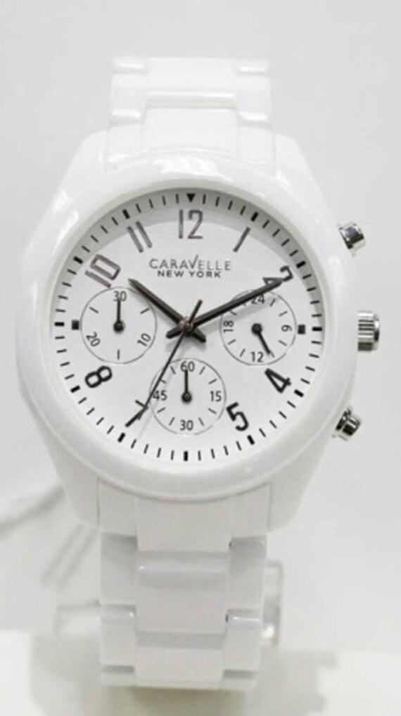 60bb82344 Caravelle 45L145 Women's New York Ceramic White Dial | Etsy