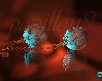 Dandelion Seeds Earrings / GLOW in the DARK /Glass Bubble Earrings / Dandelion Earrings / Glow Dandelion Earrings /