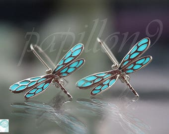 DRAGONFLY Earrings / GLOW in the DARK / Sterling silver Earrings / Glow Dragonfly /