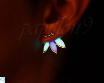 LEAVES Earrings / GLOW in the DARK / Purple Turquoise Earrings / Glow Earrings /