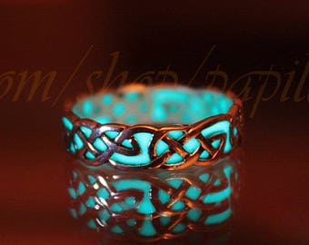 CELTIC Knots Ring / Sterling Silver Ring / GLOW in the DARK / Celtic Ring /