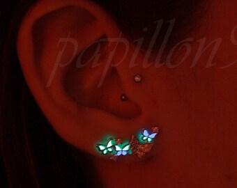 BUTTERFLIES Earrings / GLOW in the DARK / Sterling Silver Earrings /  Butterflies earrings / Tiny Butterfly / Earrings - 03