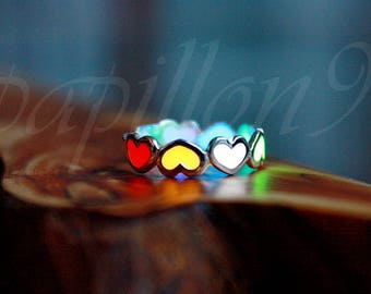 Toe Ring / Multi Colors ring / Hearts toe ring / Silver Toe ring / GLOW in the DARK / Sterling Silver Toe Ring /