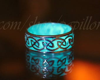 CELTIC Ring / Sterling Silver Ring / GLOW in the DARK / Glow Ring / Glow Celtic Ring /