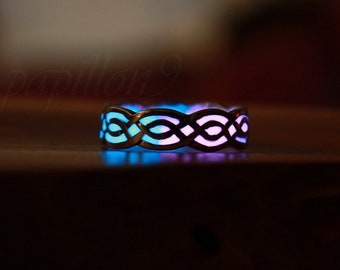 Celtic Ring Glow in the Dark / Sterling Silver 925 Ring / Celtic Knots / multi colors /