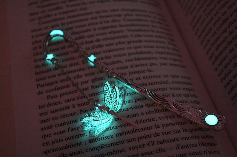 Dragonfly Bookmark Glow in the Dark / Glow Bookmark / Star Turquoise