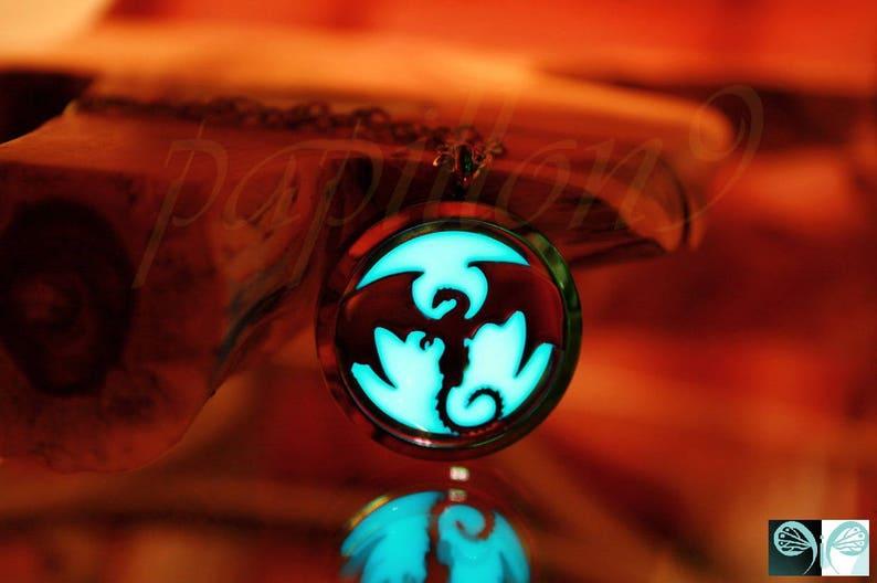 Rainblow Dragon  Glow in the Dark  Dragon Locket Stainless Steel  Glow Dragon