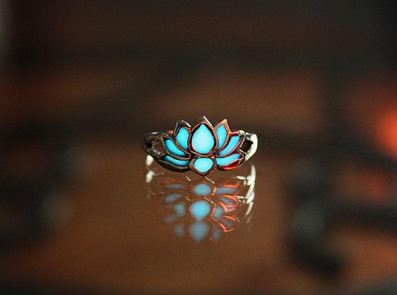 Lotus Flower Toe Ring  / Glow in the Dark / Sterling Silver image 0