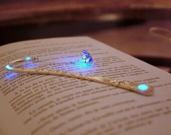 Lotus Bookmark Glow in the Dark / Silver Flower Bookmark / Purple Lotus / Blue Lotus /