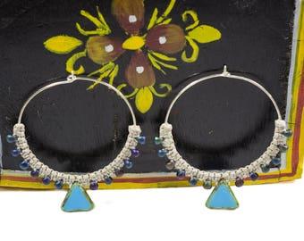Tribal jewelry, Tribal earrings, African Earrings, African Jewelry, Ethnic Earrings, Ethnic Jewelry, Sterling Silver Hoops, Ethnic Hoops