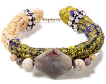 Gemstone Bracelet, Ethnic Bracelet, Fabric Bracelet, Fabric Jewelry, Unique Bracelet, Textile Jewelry, Textile Bracelet, Tribal Jewelry