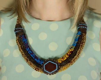 Crochet Necklace, Textile Jewelry, Gemstone Necklace, Fabric Necklace, Big Necklace, Ethnic Necklace, Fiber Necklace, Gift for Her, Handmade