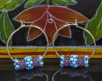 Beaded Hoop Earrings, Sterling Silver Hoops, Small Hoops, Beaded Wire Earrings, Dangle Earrings, Beaded Silver Hoops, Gifts under 25