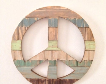 Rustic Home Decor - Peace Sign  - Earth Tomes