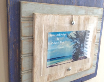 5 x 7 Distressed Handmade Picture Frame - Blue, Pale Blue & White