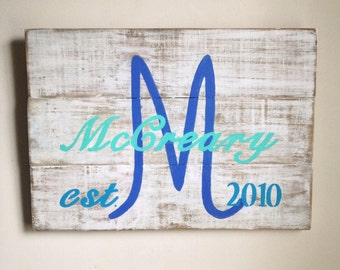 Custom Last Name and Wedding Date Sign