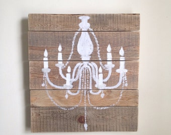 Rustic Wall Decor - Chandelier made from Reclaimed Wood