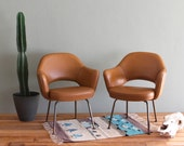 Saarinen Executive Arm Chairs Vintage Pair Tobacco Brown and Copper RESERVED