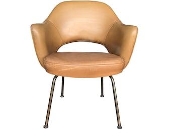 1950's Eero Saarinen Executive Arm Chair in Tobacco Naugahyde by Knoll International