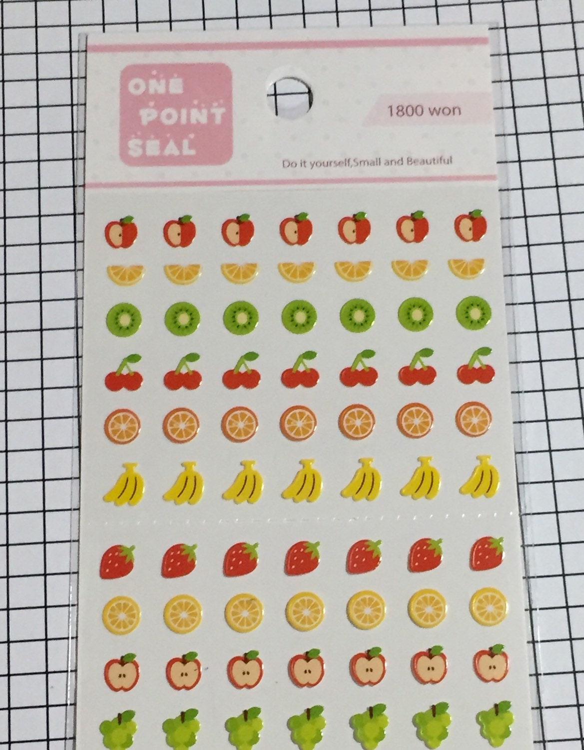 Korean One Point seal cute FRUIT stickers - 1 sheet - Small sticker ...