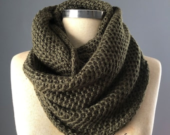 Valentine's Day Sale, Scarves, unisex, Hunter green scarf, knit scarf, 12 colors, Cowl Scarf, gift for her, İnfinity scarf, chunky scarf