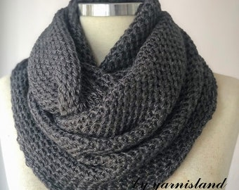 Sale, Knit scarf, infinity scarf, Cowl scarf, Dark gray scarf, Scarf, Circle scarf, Chunky scarves, Gift for her, Gift for him