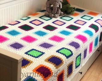 Christmas Sale, Granny Square blanket, crochet blanket, colorful blanket, handmade bedspread, crochet afghan throw, Crochet blanket