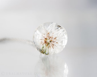Resin Necklace ⇷18mm⇸ Dandelion necklace | Whole Dandelion jewelry | Real Dandelion seeds pendant | Resin Sphere Necklace | Resin jewelry