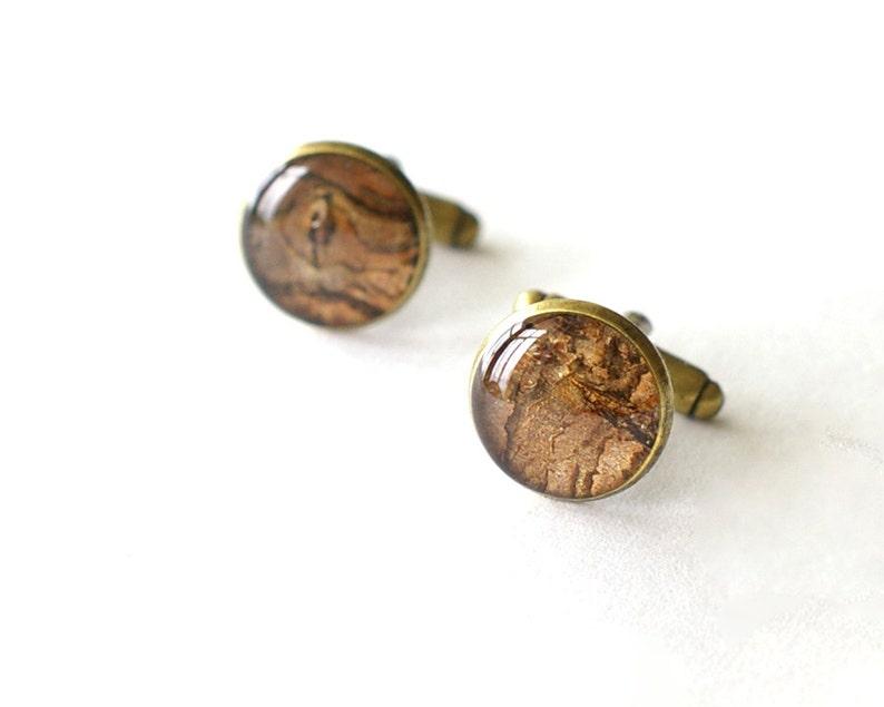 Real Bark Cufflinks Prunus cerasus brown unusual handmade resin cuff links woodland rustic wedding