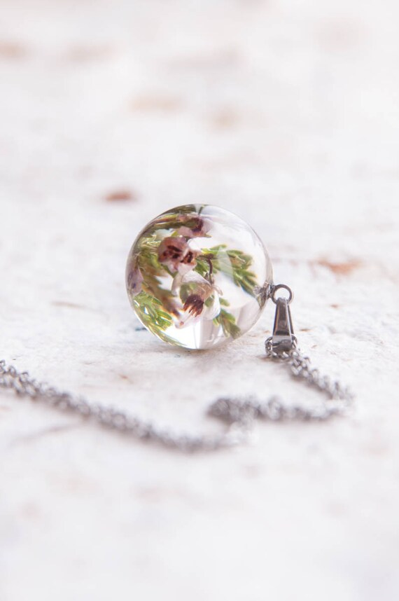 Heather Flowers 18mm Resin Necklace Birthday Gift For Etsy