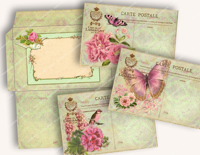 PRINTABLE FRENCH SHABBY Vintage Postcards with Envelope Template vintage  flowers butterflies french postcard Magentabelle download 136