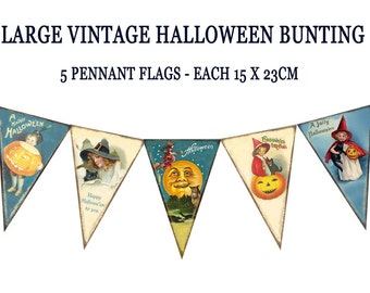 VINTAGE HALLOWEEN BUNTING pennant flags printable halloween party banner Magentabelle download 119