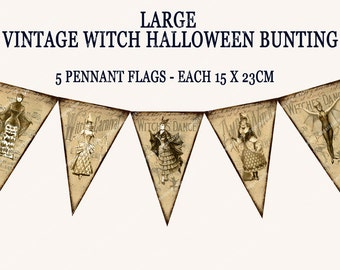 VINTAGE HALLOWEEN BUNTING pennant flags printable halloween party banner witches and batwomen  Magentabelle download 120