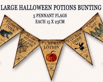 VINTAGE HALLOWEEN POTIONS bunting pennant flags printable halloween party banner witches potions  Magentabelle download 151
