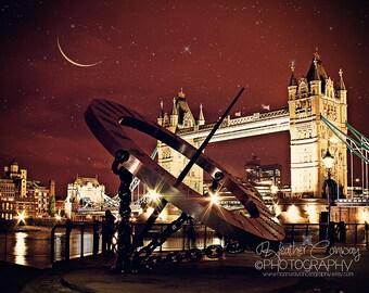 London Photo Digital Download Golden Bridge crescent moon stars night sky Tower Bridge at Night, Fine Art Photography Brown Red Home Decor