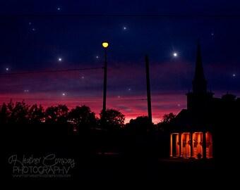 Halloween Starry Night Sky Photo Witchy Purple Night Sky Orange Light Twilight Starlight Stars Spooky Church Photo Fine Art Photograph