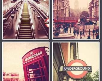 Set of 4 Digital Download Photographs, Travel Photography, Leicester Square London, Red London Bus Photo, Fine Art Photography