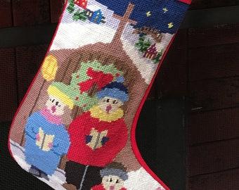 Personalized Needlepoint Christmas Stocking | The Carolers