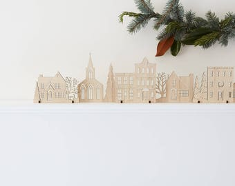 Wood Christmas Village Original Holiday Edition | Available in Cherry, Maple, Walnut