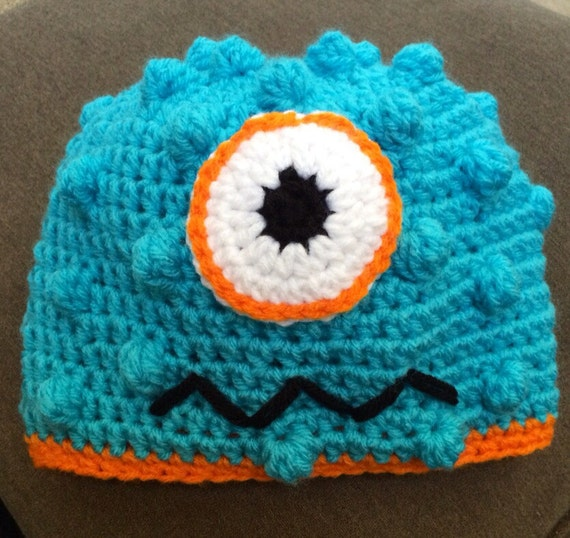 abcb0b235c3 Bright monster hat with squiggle mouth