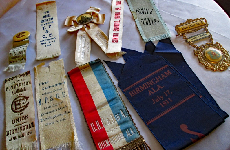 Whitehead and Hoag Lot of Ribbon Badges and Medallion from 1895-1911