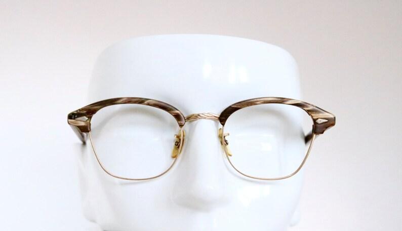 Vintage 50's Coffee & Cream Wood Grain 12K Cat Eye Eyeglasses - see details