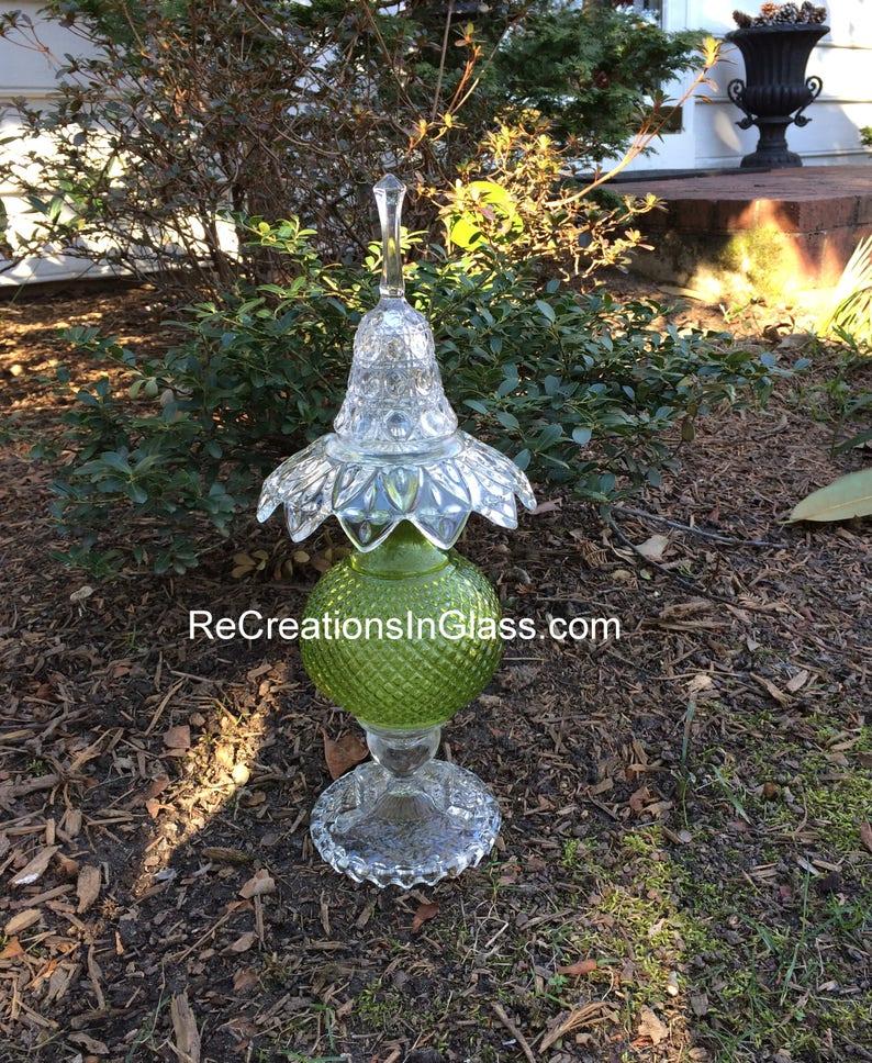 Garden art. Garden totem. Glass totem. Assembled glass image 0