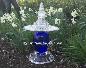 Assembled glass sculpture for garden or porch. Art Glass. Garden art. Suncatcher. Statement piece for grand foyer. Repurposed upcycled glass