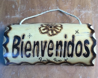 Bienvenido's House SIGN - spanish welcome House sign  -  Entry way  welcome Sign